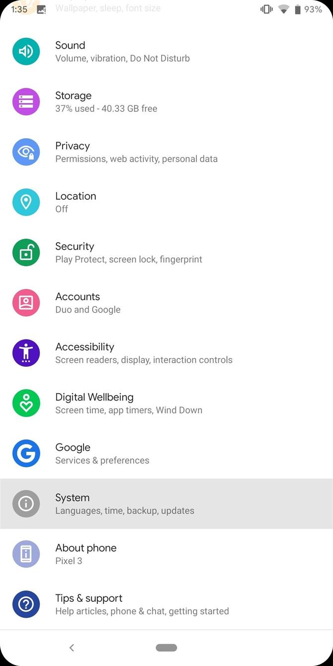 Settings Pixel Android 10