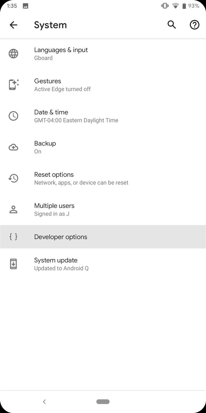 System Settings Pixel Android 10
