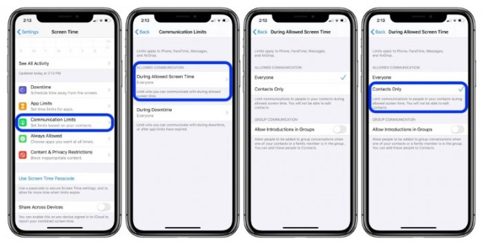 How to establish communication limits with Screen Time in iOS 13?