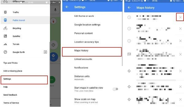 Clear Individual Search Location History in Google Maps