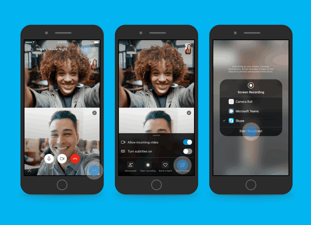 How to use Skype screen share on iOS and Android