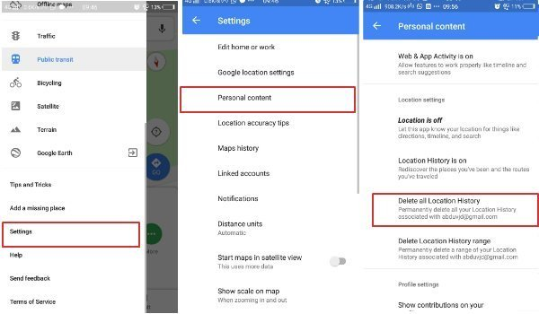 Clear Search And Location History In Google Maps Android