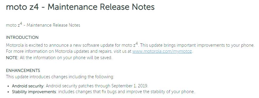 Motorola Moto Z4 Android 10 update