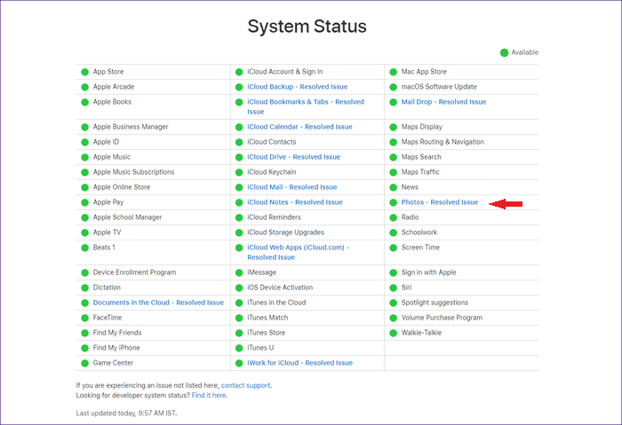 it Apple's System Status page.