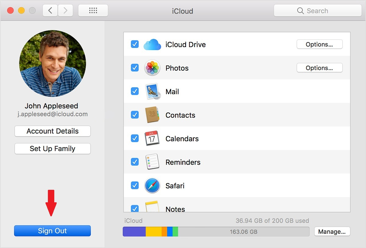 Sign In/Sign Out of iCloud — macOS