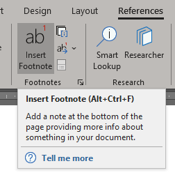 Insert Footnotes in MS Word