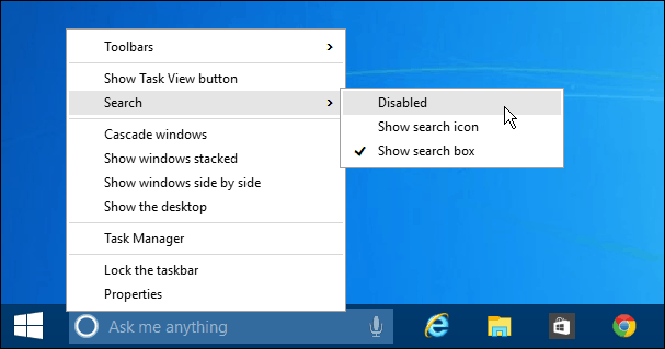 Remove Cortana from Taskbar