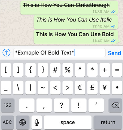 Different Typing Styles in WhatsApp
