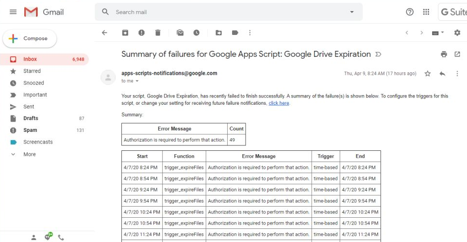 failures for Google Apps Script