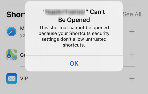 Allow Untrusted Shortcuts