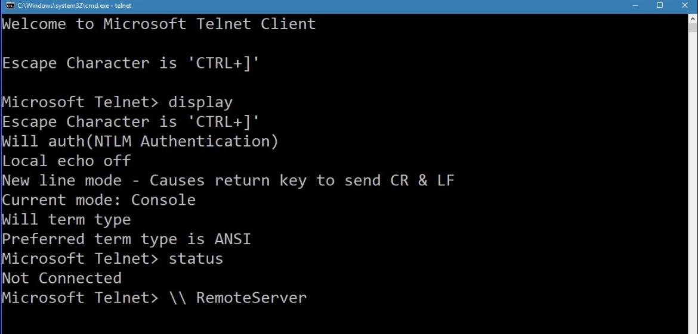 Telnet installation in Windows 10