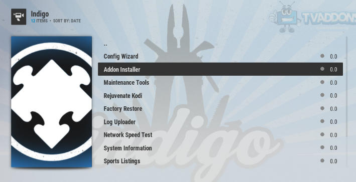 how to use indigo on kodi