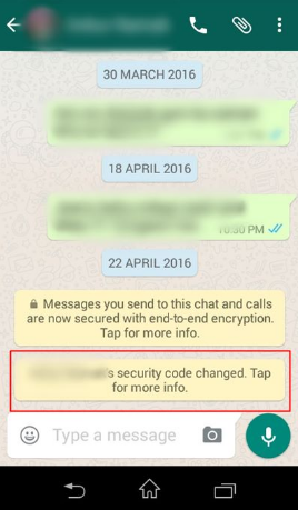 whatsapp security code changed