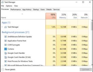 CPU Usage in Windows 10