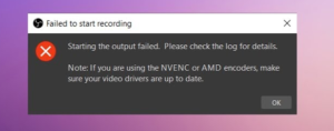 OBS Error in Windows 10