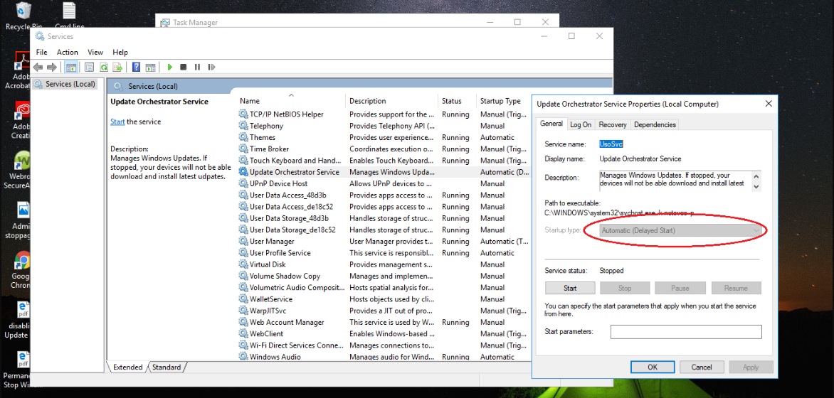 Update Orchestrator Service in Windows 10