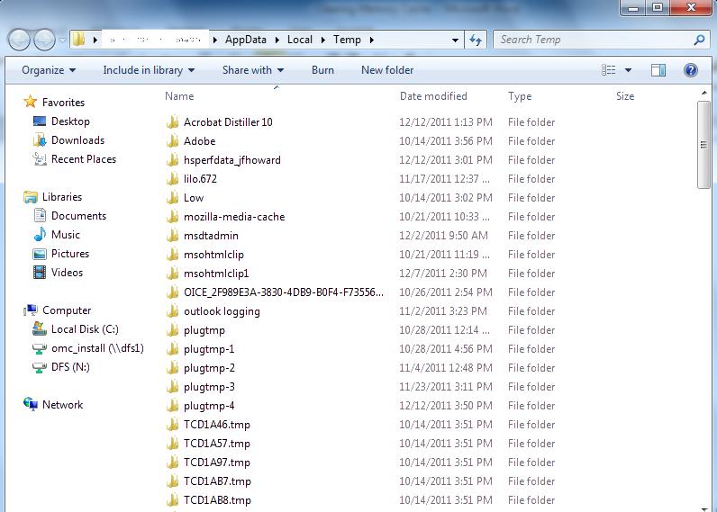 Windows Temporary Files