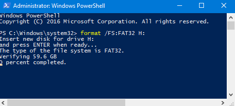 format fat32 windows 10