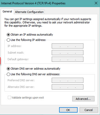networks proxy settings Error