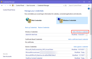 Add New Sign-In Info Via Credential Manager
