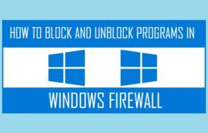 Allow Or Block Firewall Programs