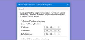 Assign Static IP Address Via Control Panel