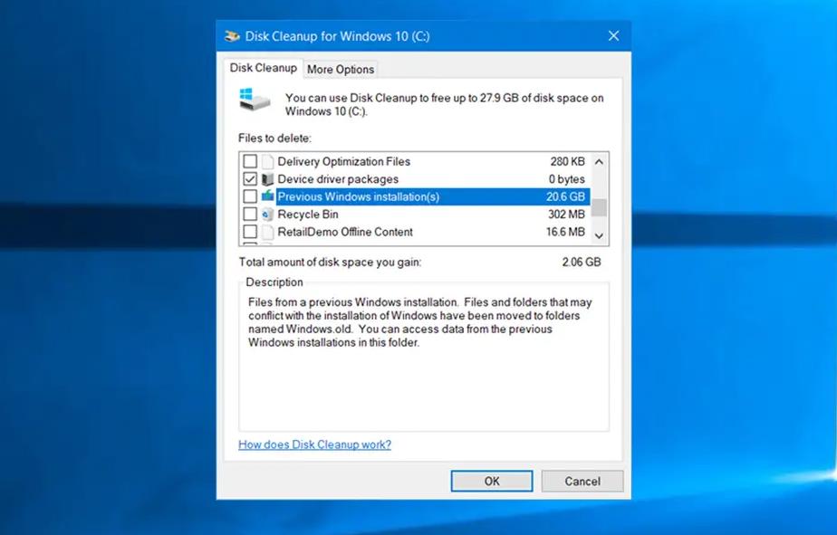 Remove Windows.old Folder On Windows 10