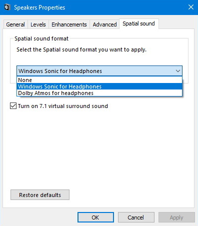 Spatial Sound windows 10