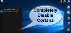 Turn Off Cortana In Windows 10