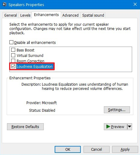 loudness equalization in windows 10