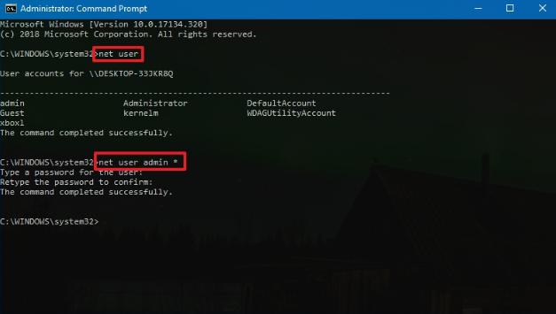 net user change password