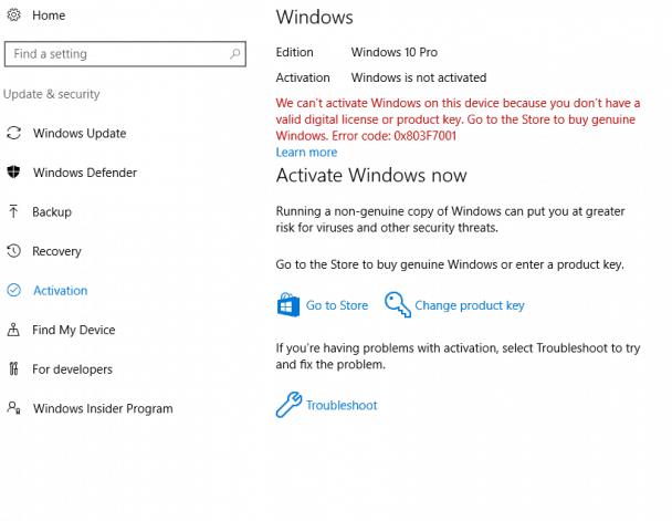 windows 10 digital license