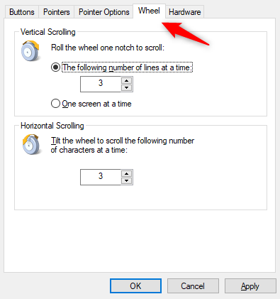 mouse settings in windows 10