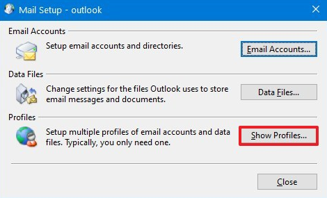 outlook 2016 delete profile