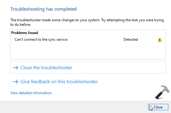 can't connect to the sync service
