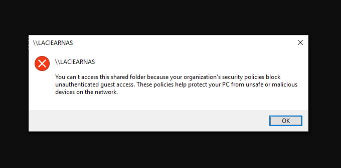 Can't Access This Shared Folder Because Of Organization's Security Policies