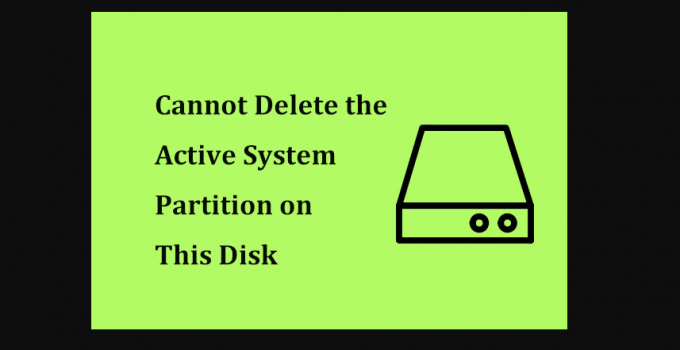 Delete Active System Partition