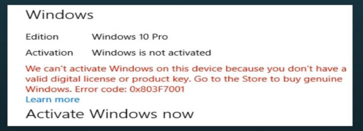 Error 0x803F7001