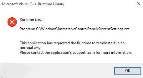 This Application has Requested the Runtime to Terminate