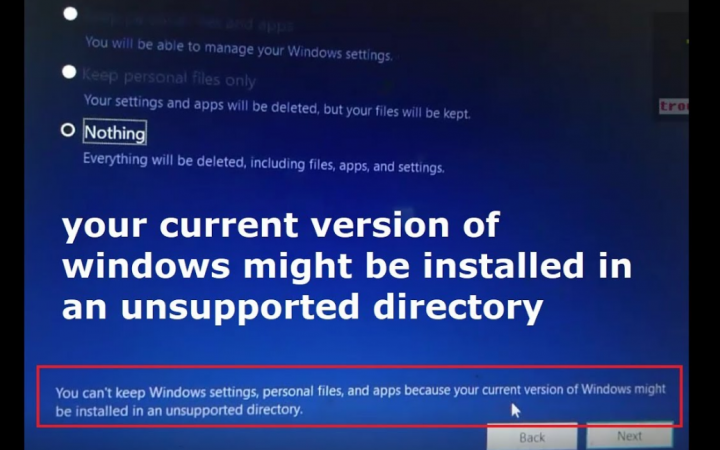Windows Installed Unsupported Directory