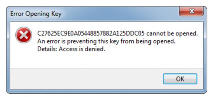 Windows Registry Error Opening Key Issue
