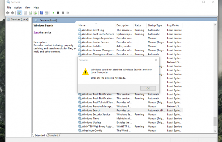 Windows Search Service Failed To Start