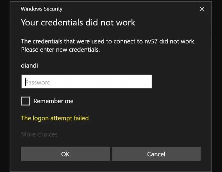 Your Credentials Did not Work