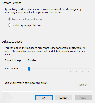 can't turn on system protection