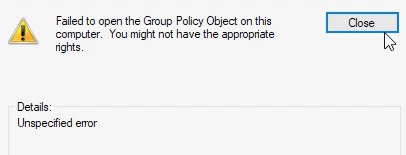 failed to open the group policy