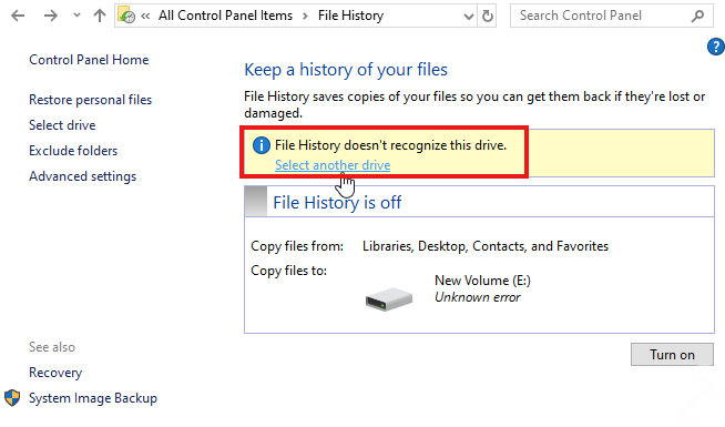 file history does not recognize this drive