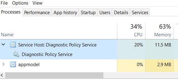 service host diagnostic policy