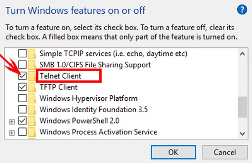 telnet server in windows 10