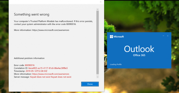 Outlook Error Code 80090016
