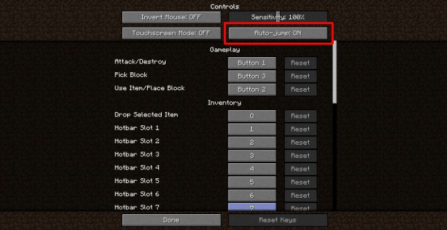 how to turn off auto jump in minecraft